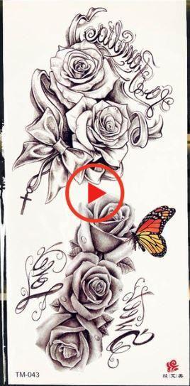 Purple Rose Pandent Water Transfer Tattoo Stickers Women