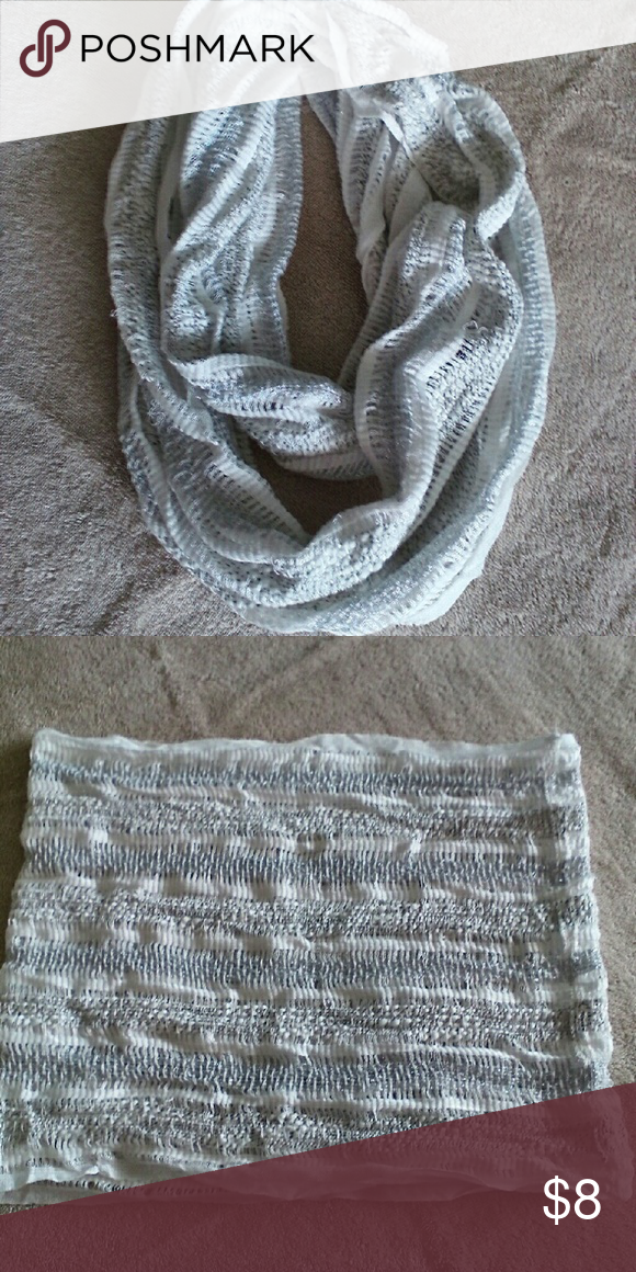 Scarf White and silver/light grey loose knit scarf.  Due to loose weave there are some snags throughout but still wears nicely and are not noticeable when worn Accessories Scarves & Wraps