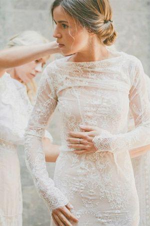 nude underlay lace long sleeve wedding dress - brides of adelaide ...