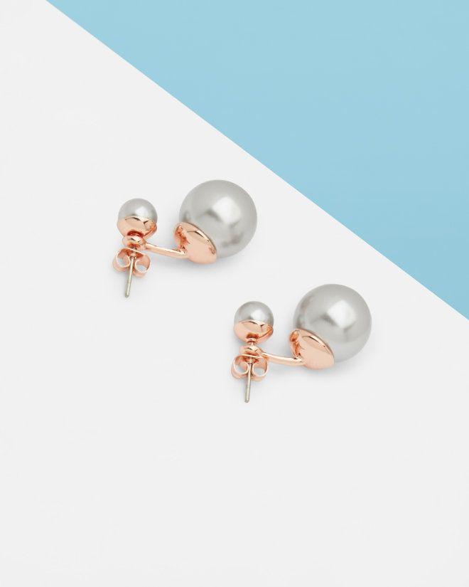 Drop Pearl Earrings Light Grey Jewellery Ted Baker Uk