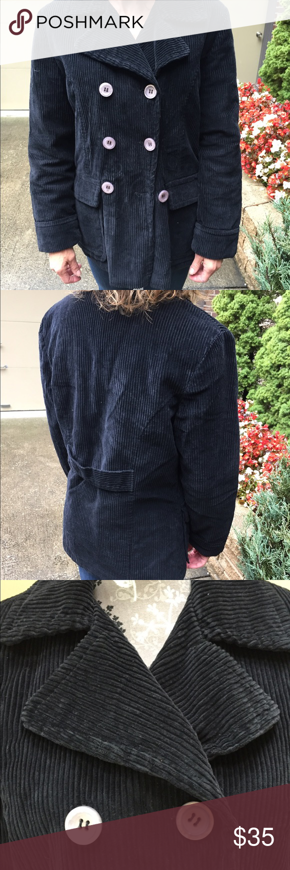 Free People black corduroy coat Free people black corduroy coat. Excellent condition.  Quilted lining.  Size small. Pockets in the front. Great for fall! Free People Jackets & Coats Pea Coats