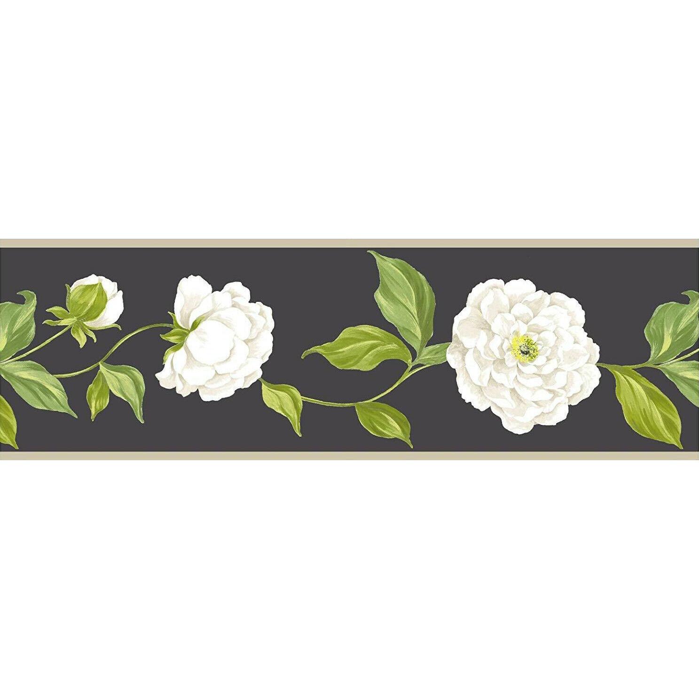 Black Cream Camelia Flower Wallpaper Border 17 5cm Wide X 5m Long Ebay Wallpaper Border Floral Border Flower Wallpaper