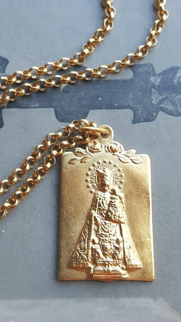 18K Gold Plated Blessed Mother Mary and Jesus Medal Necklace
