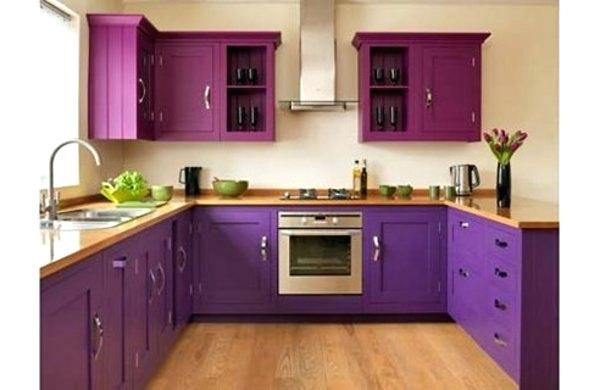 Nice High Gloss Purple Kitchen Cabinets View In Gallery Industrial Style With  Bold Doors. Purple High