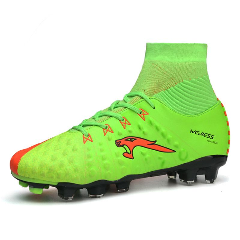 947443e9a4f 2017 New Teenager Adult Soccer Cleats Football Boots Studs Blue Green High  Top Soccer Trainers High Ankle Football Sneaker  Affiliate