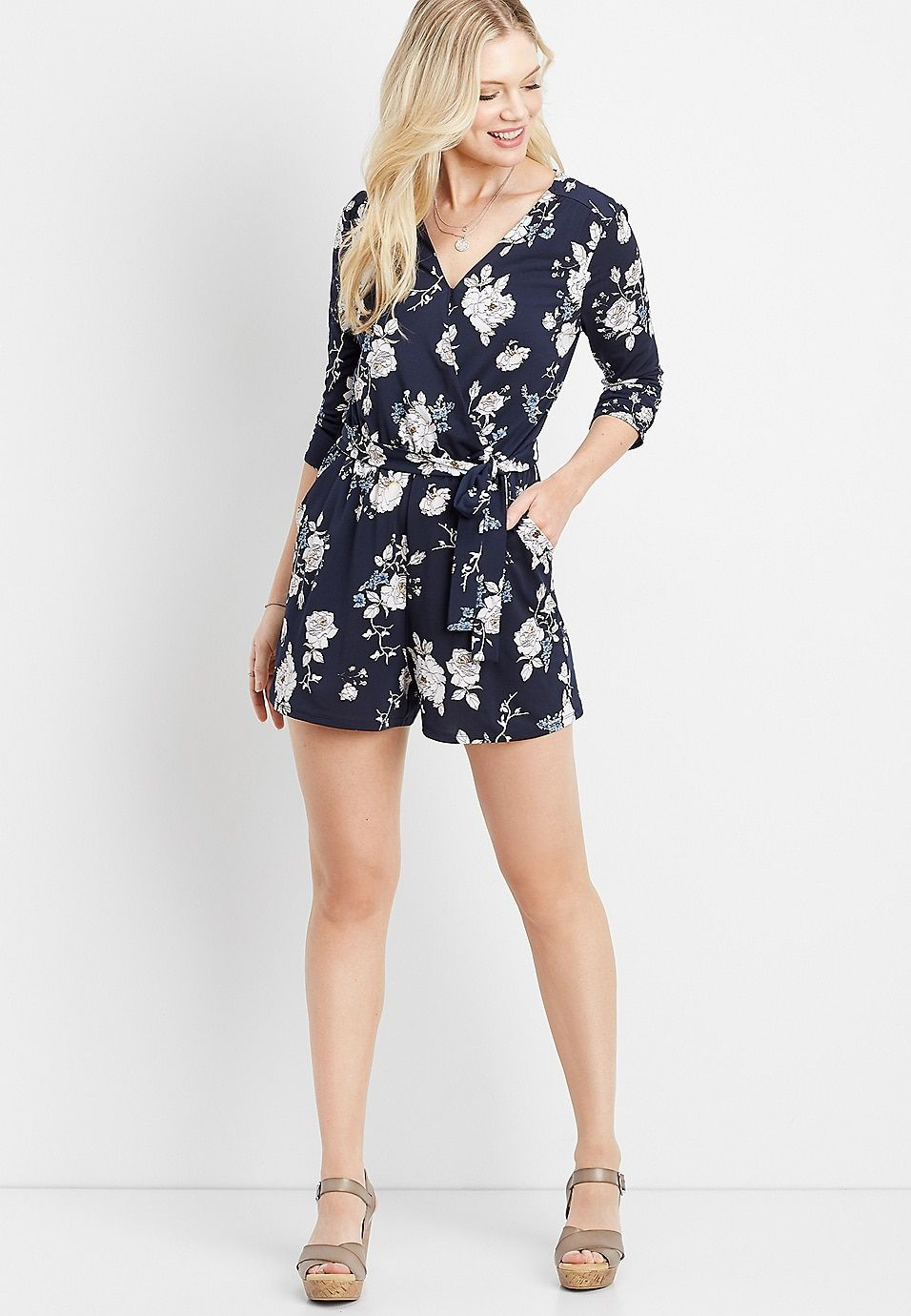 Floral Wrap Front Romper Maurices Outfits New Arrival Dress Rompers [ 1380 x 956 Pixel ]