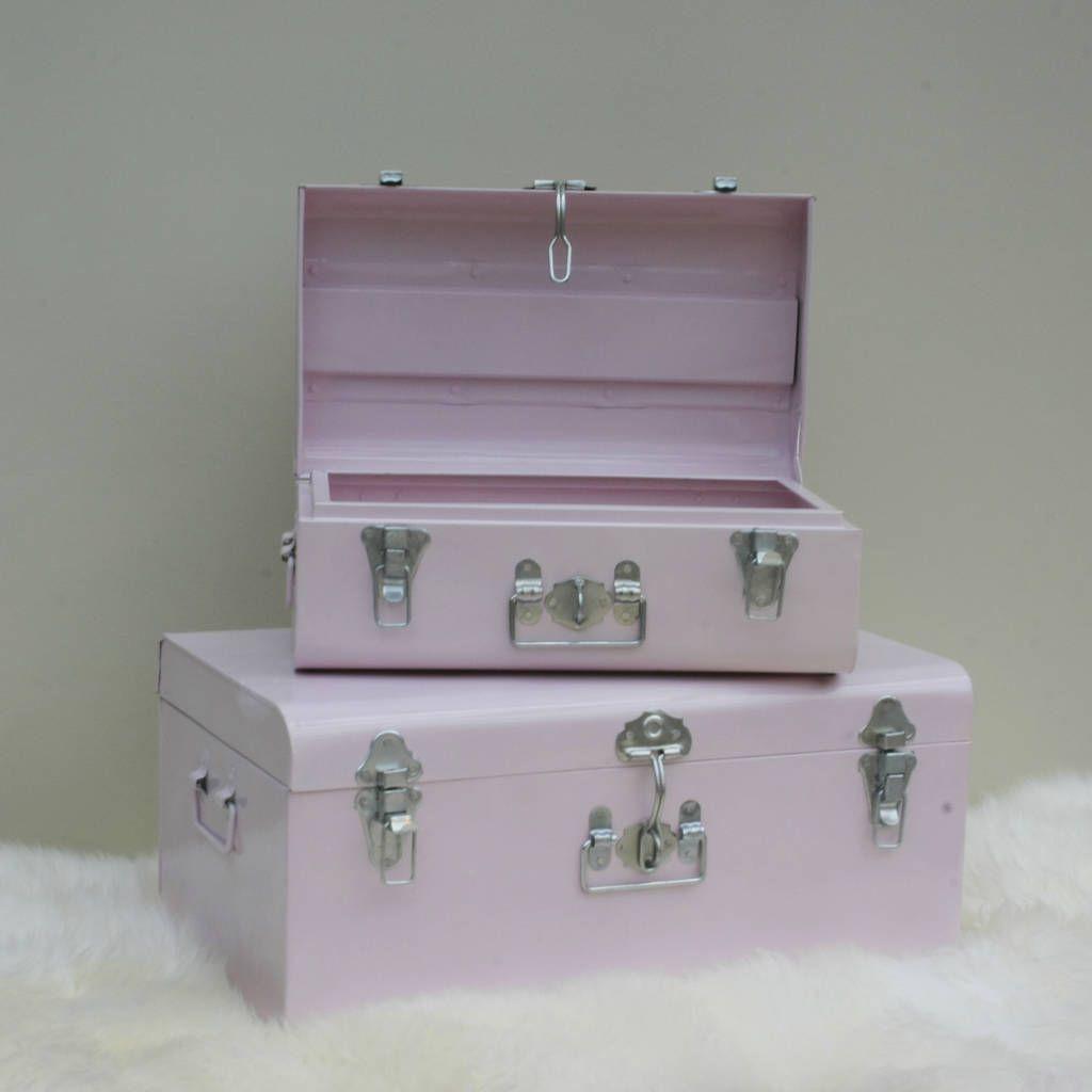 Charmant Nesting Pastel Pink Metal Storage Trunks