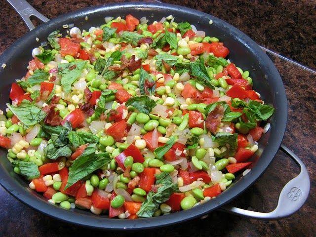 For a vegetarian, this looks pretty delish: Edamame Succotash
