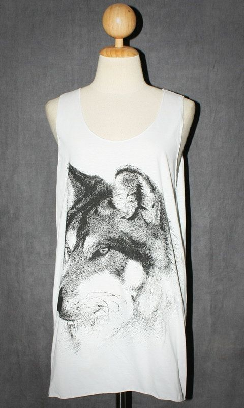 Wolf Face White Tank Top Photo Art Punk Rock Pop Animal T-Shirt Size M