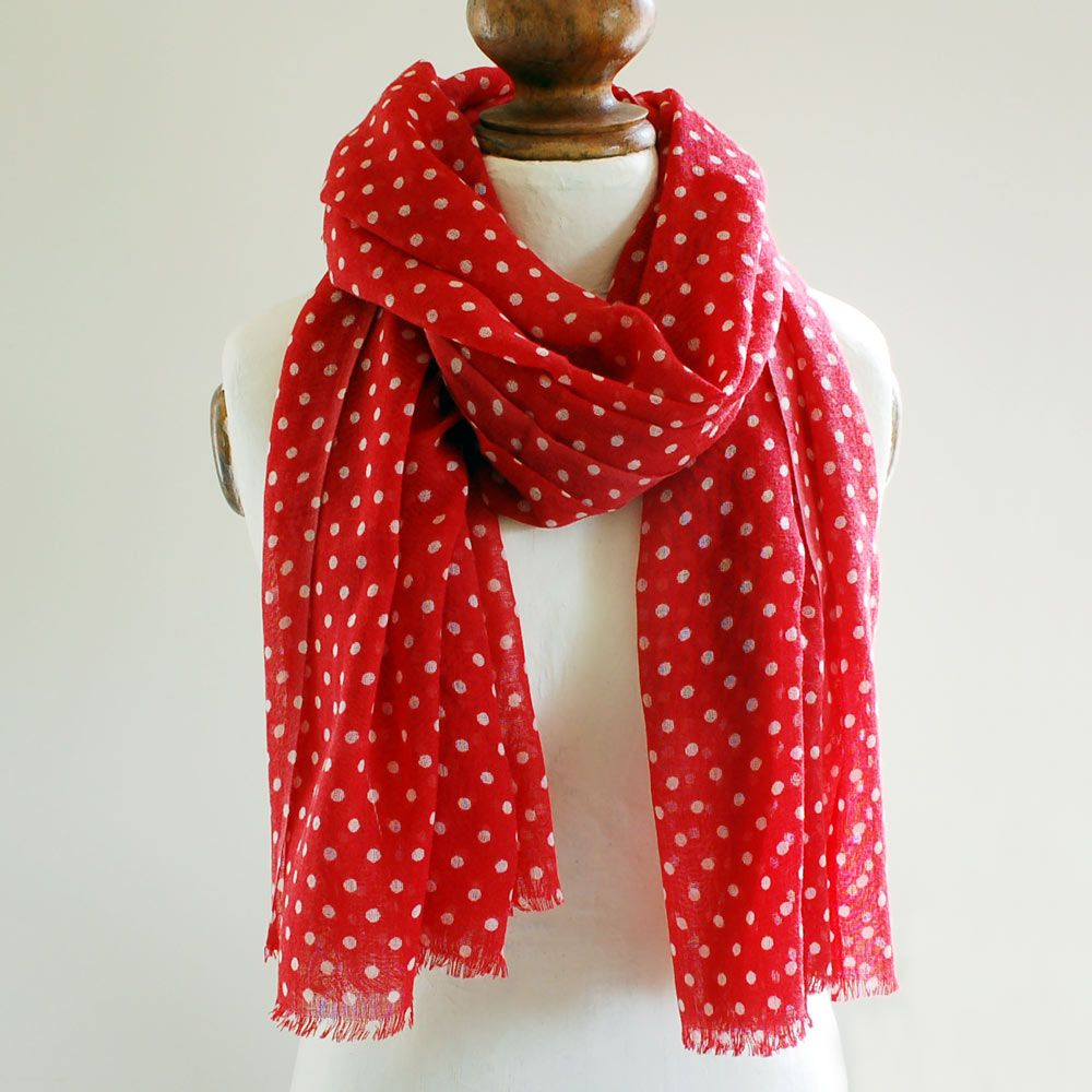 Red Dotty Pure Wool Scarf