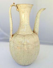 Early Song Hu Tian Celadon Glazed Melon-Form Ewer