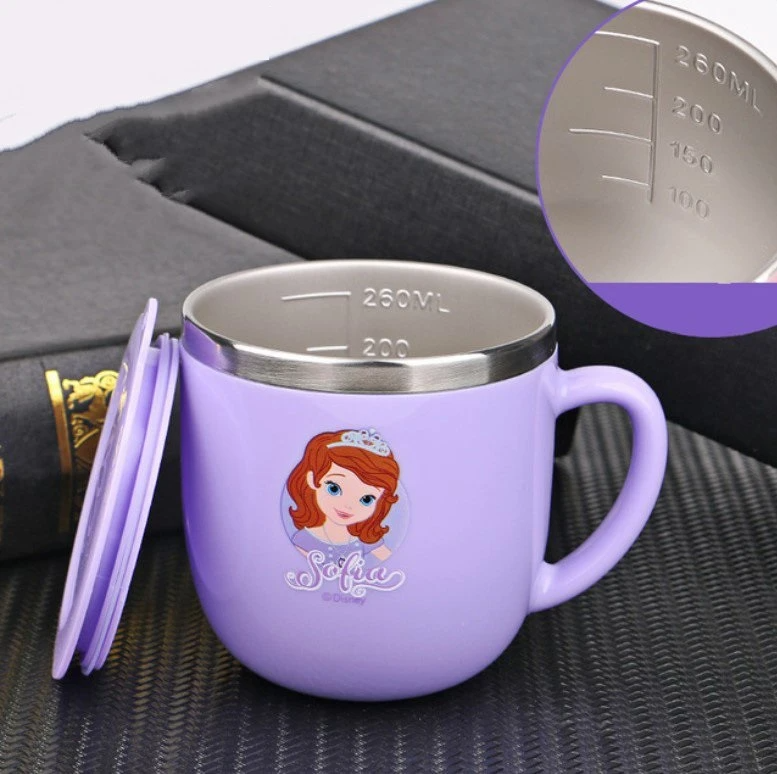 Disney Mugs Home Anti-Fall Kindergarten Stainless Steel Mouth Cup Toddler Baby With Lid