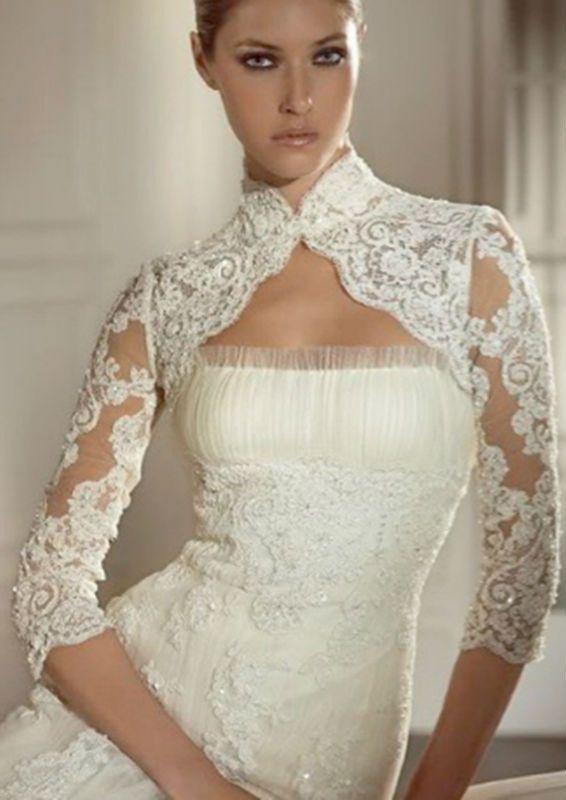 ecf7fdd7b5e11 B0105 High Neck Long Sleeve Lace Button Tulle Wedding Accessory Bridal  Wedding Short Bolero Jacket Shawl