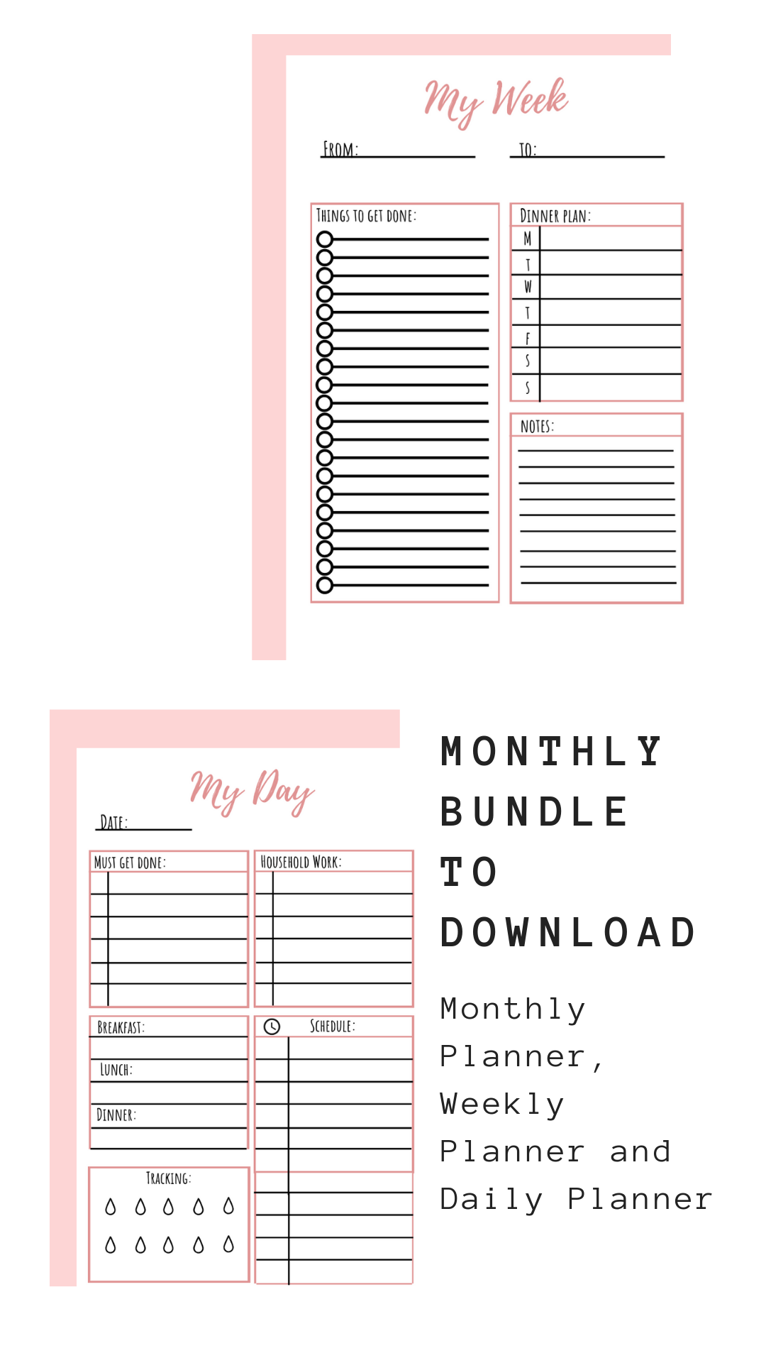 Monthly Set Printables Pink Theme