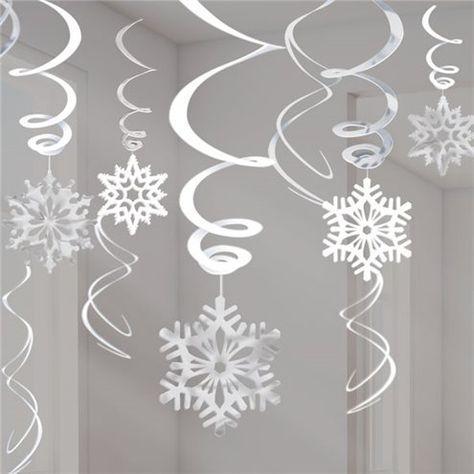 Silver Snowflake Hanging Swirls - 60cm