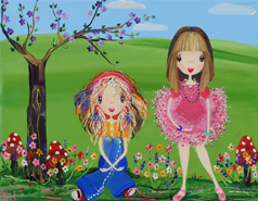 Friends  from my whimsical girls artworks by Peta E. More info about me at my website www.petae.com.au