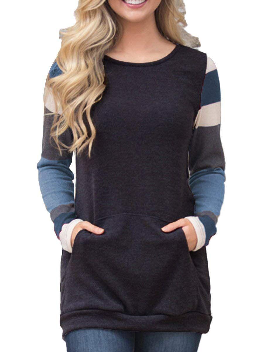 14e1fa0bf Women's Color Block Long Sleeve Sweatshirt Tunic Tops Lightweight Kangaroo  Pocket T Shirts at Amazon Women's Clothing store: