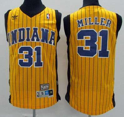 cad1ed6177e ... closeout mens indiana pacers 31 reggie miller yellow pinstripe hardwood  classics soul swingman throwback jersey a5a87