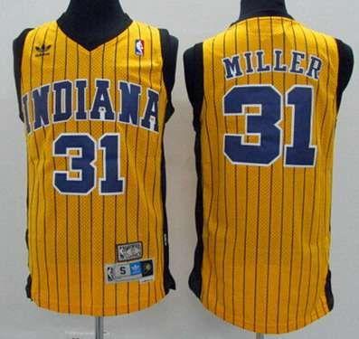 Men's Indiana Pacers #31 Reggie Miller Yellow Pinstripe Hardwood Classics  Soul Swingman Throwback Jersey