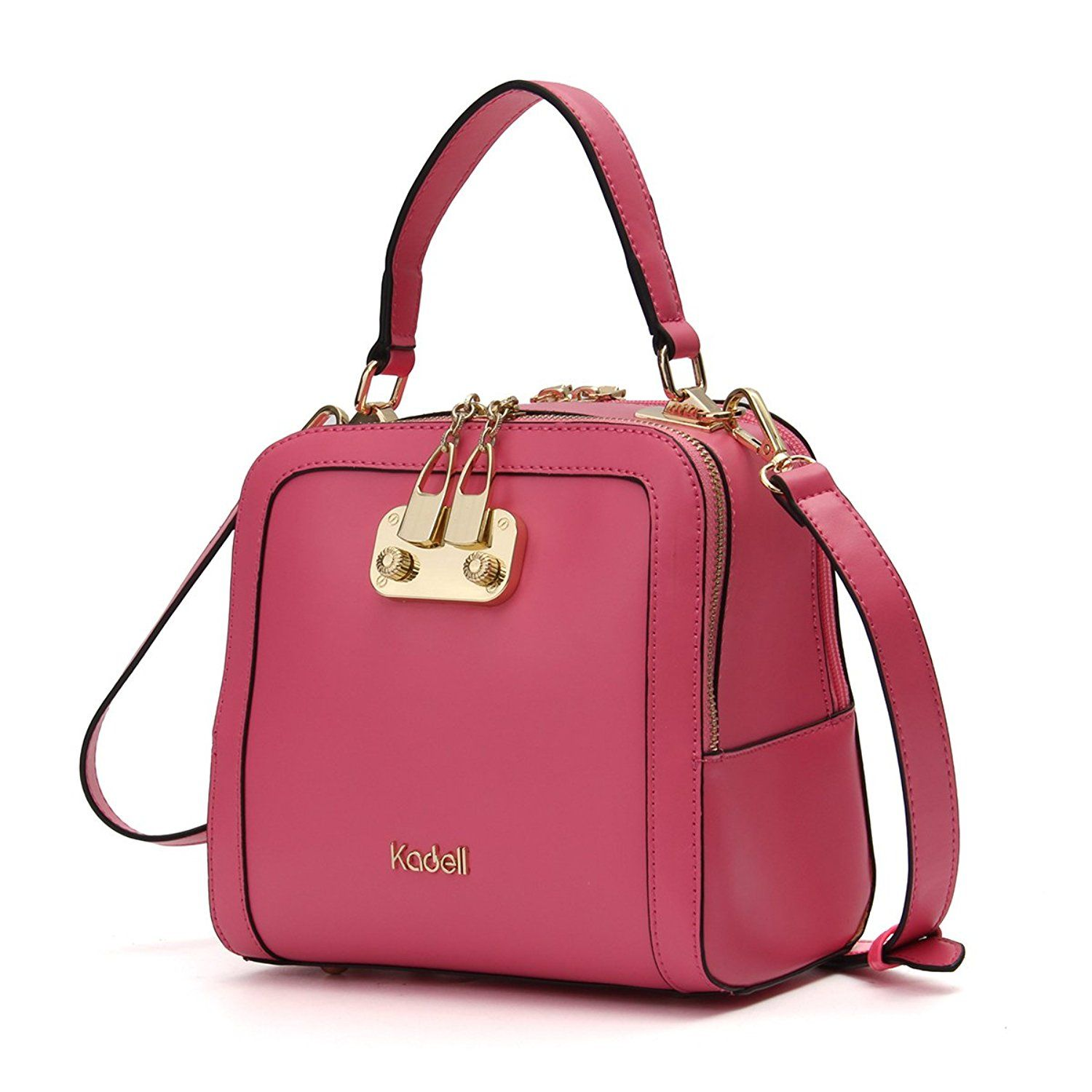 8076e9d13406 Kadell Women Leather Handbags Shell Shape Top Handle Purse with Removable  Strap Pink  Handbags  Amazon.com