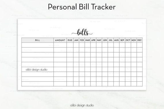 Bill Tracker Personal Planner Inserts Printable Planner Bill