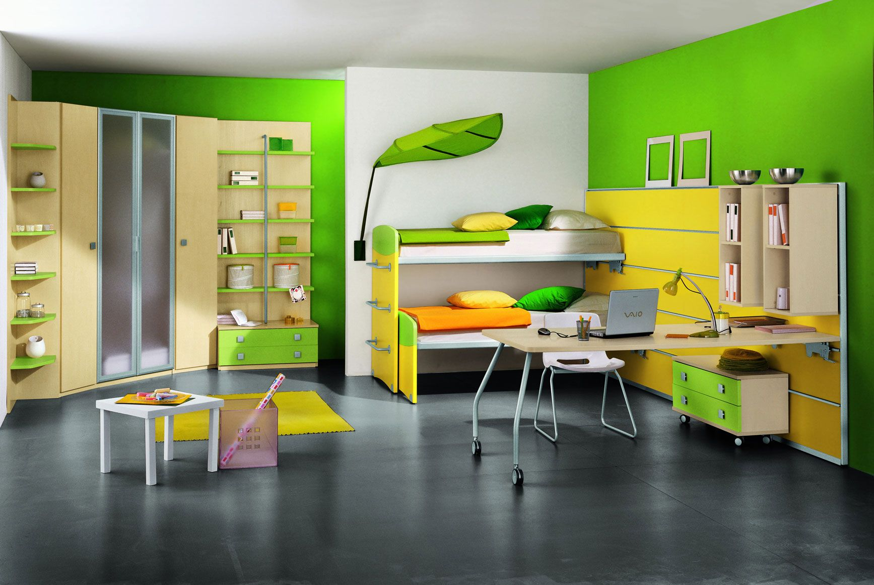 Stylish White and Bright Green Kids Bedroom Design for Shared ...