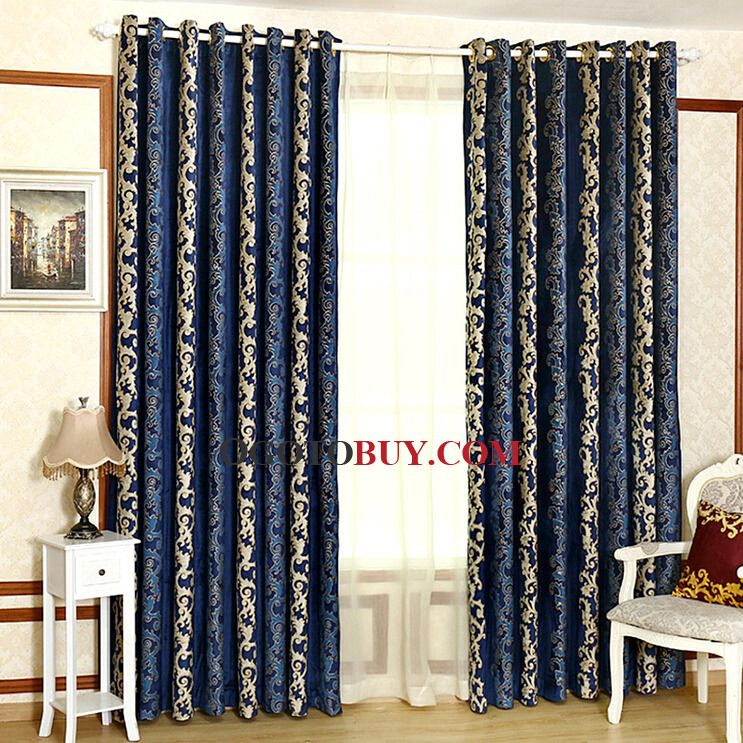 Fresh Blue And Gold Curtains And Dark Royal Blue Velvet