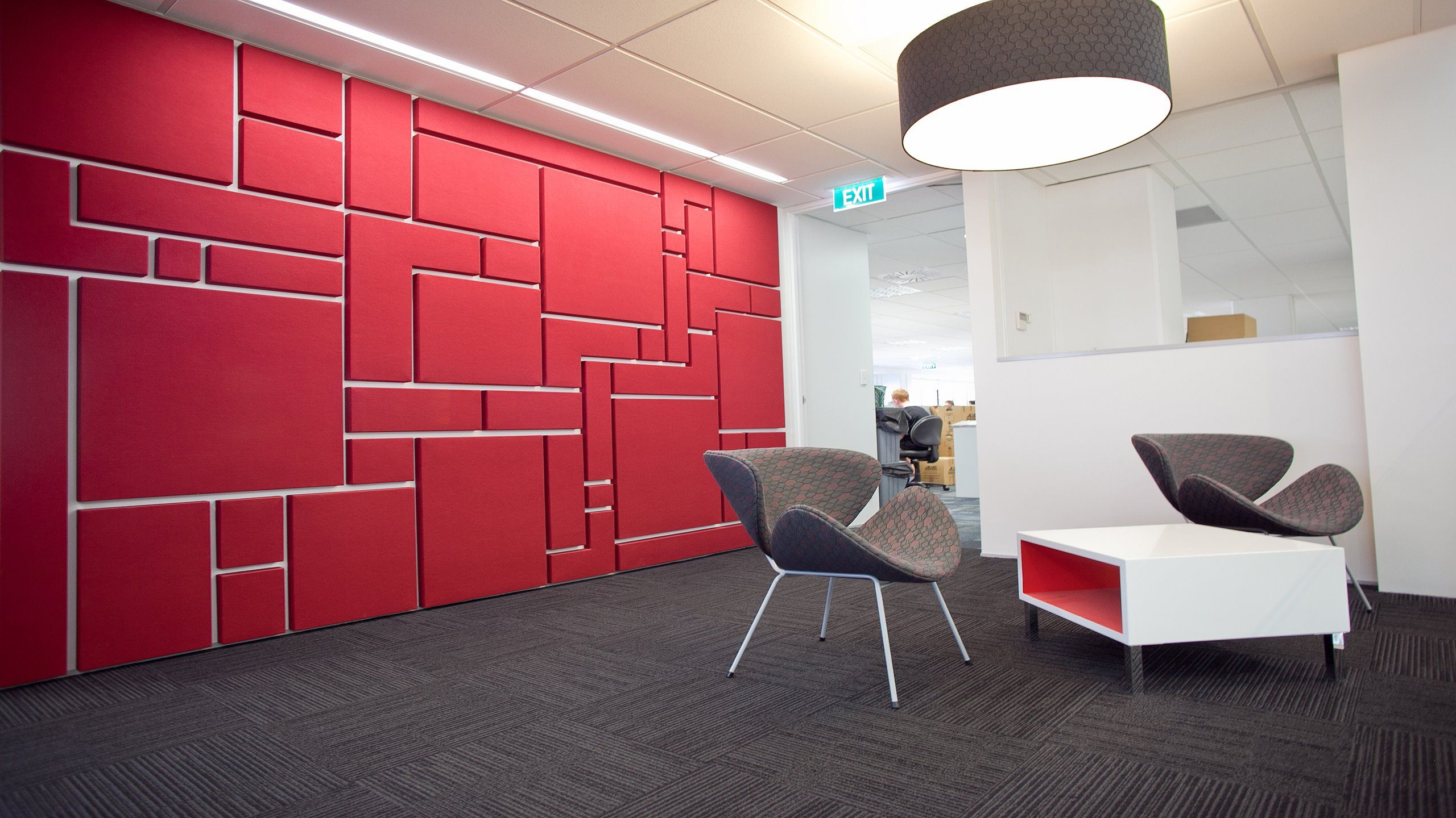Bon BECA Offices U2013 Fabwall Acoustic Wall Panels Used In Various Shapes Creating  A Mosaic Wall Effect
