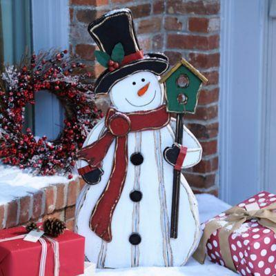 Bird Buddy Wooden Snowman Statue Wooden snowmen, Wood snowman and - outdoor snowman christmas decorations