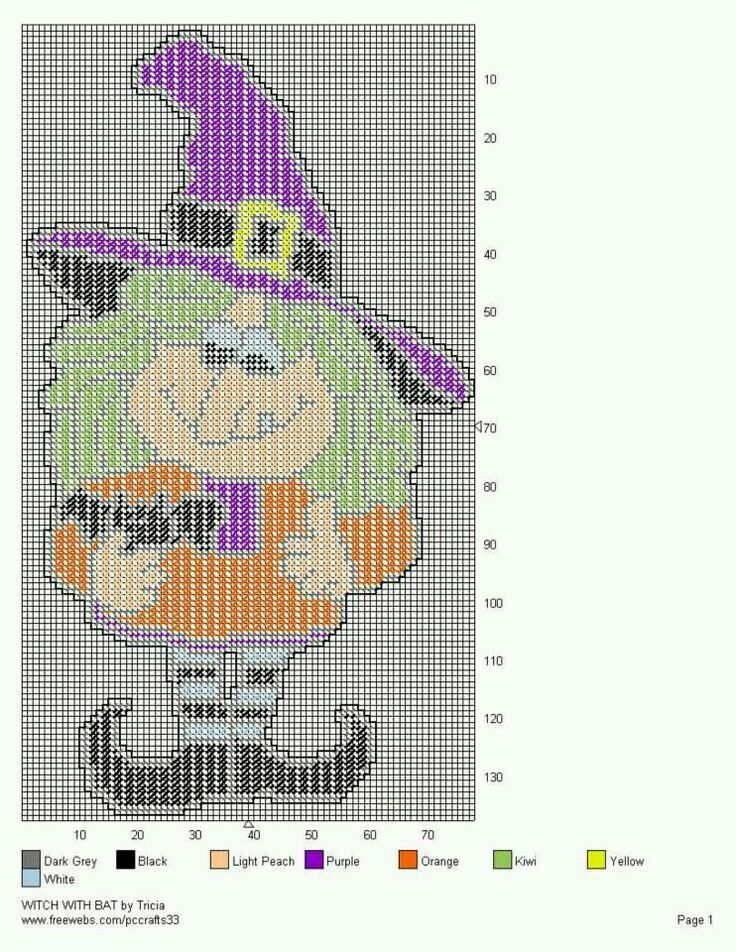 WITCH WITH BAT by TRICIA -- WALL HANGING plastic canvas halloween - patterns for halloween decorations