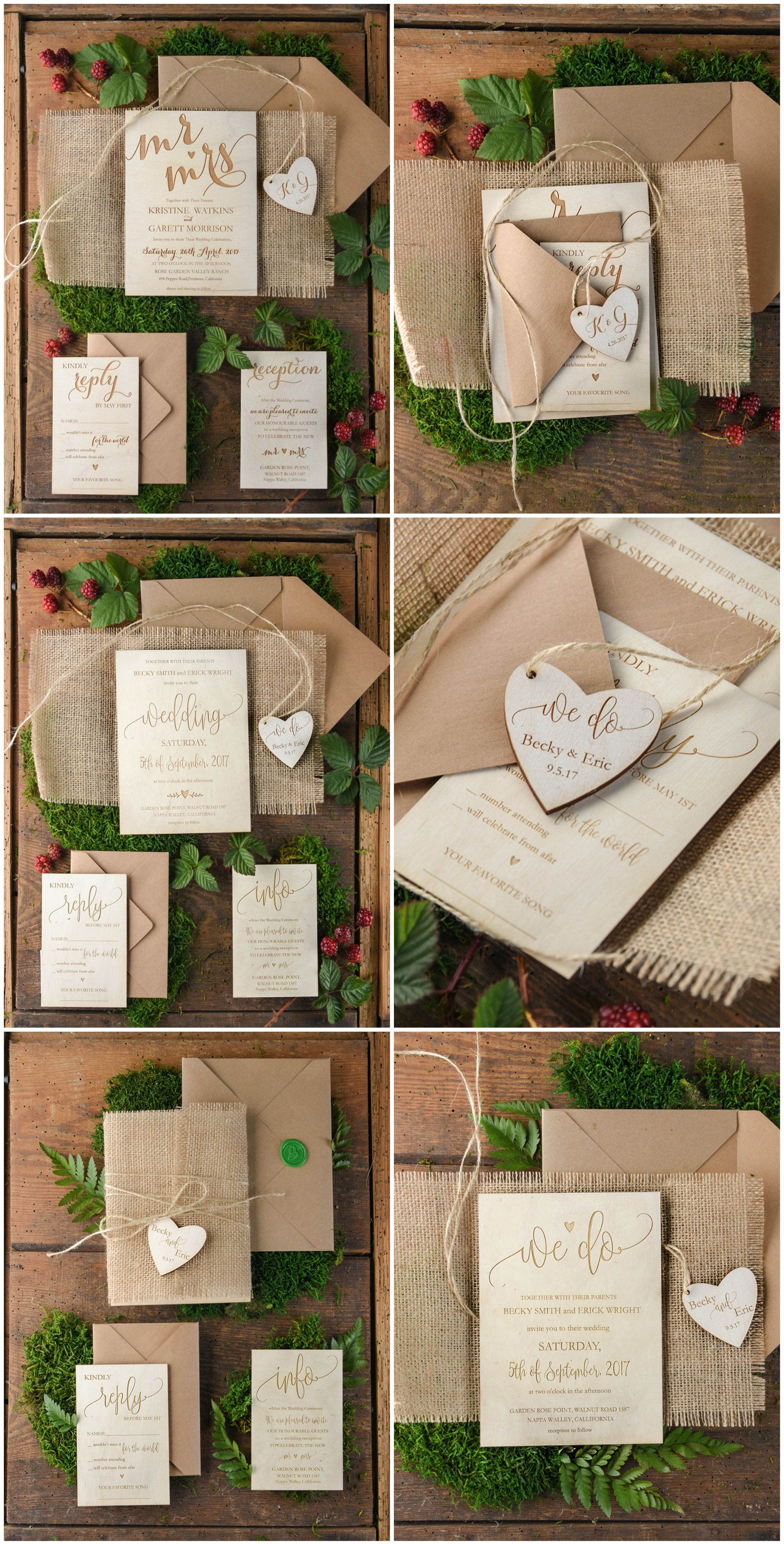 Wooden Wedding Invitations Custom Engraved With Heart Tag And