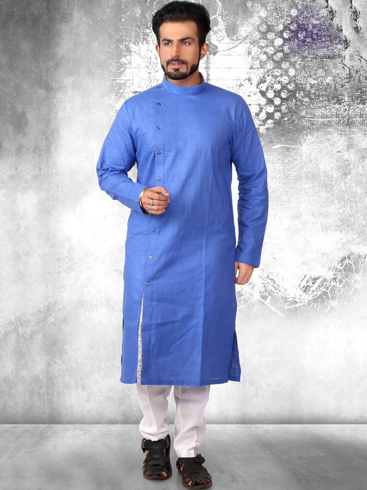13718eb0a4b Fetching blue festival wear cotton kurta pyjama. Having fabric cotton. The  attractive plain work