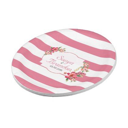 Pink White Stripes And Flowers Paper Plate - kitchen gifts diy ideas decor special unique inidual  sc 1 st  Pinterest & Pink White Stripes And Flowers Paper Plate - kitchen gifts diy ideas ...