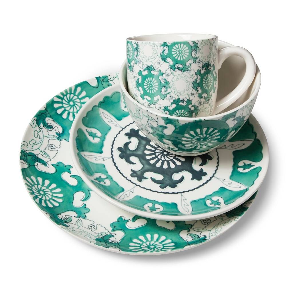 Add a splash of soothing color and sophisticated style to your table with this Threshold Aqua Medallion Dinnerware Set. Each piece is made of beautifully ...  sc 1 st  Pinterest & Turquoise | Aqua Medallion 16 Piece Dinnerware Set | Design ...