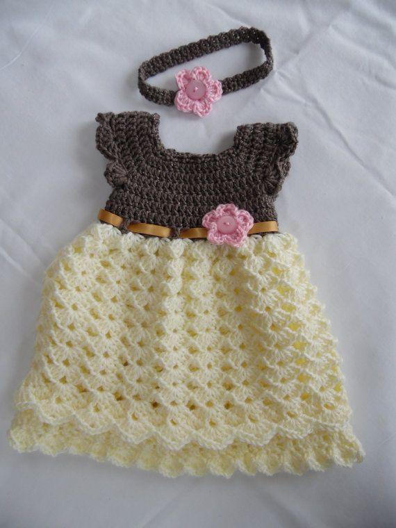 4c9a4535c1613 Handmade Baby Crochet Dress and MaryJane Set Infant Baby | 0-3 meses ...