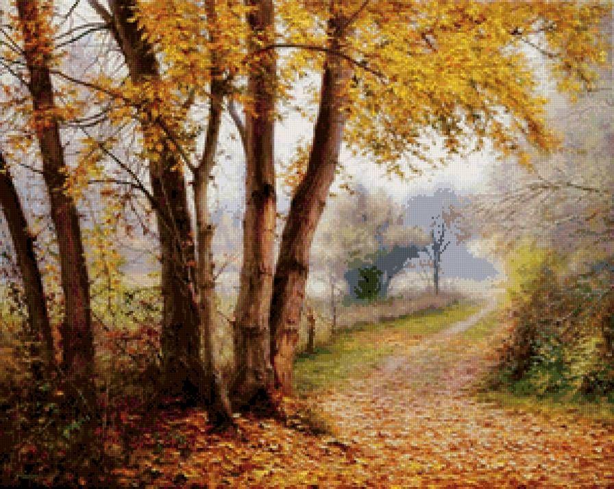 Схема вышивки «осень в парке» - Вышивка крестом | Пейзажи ...