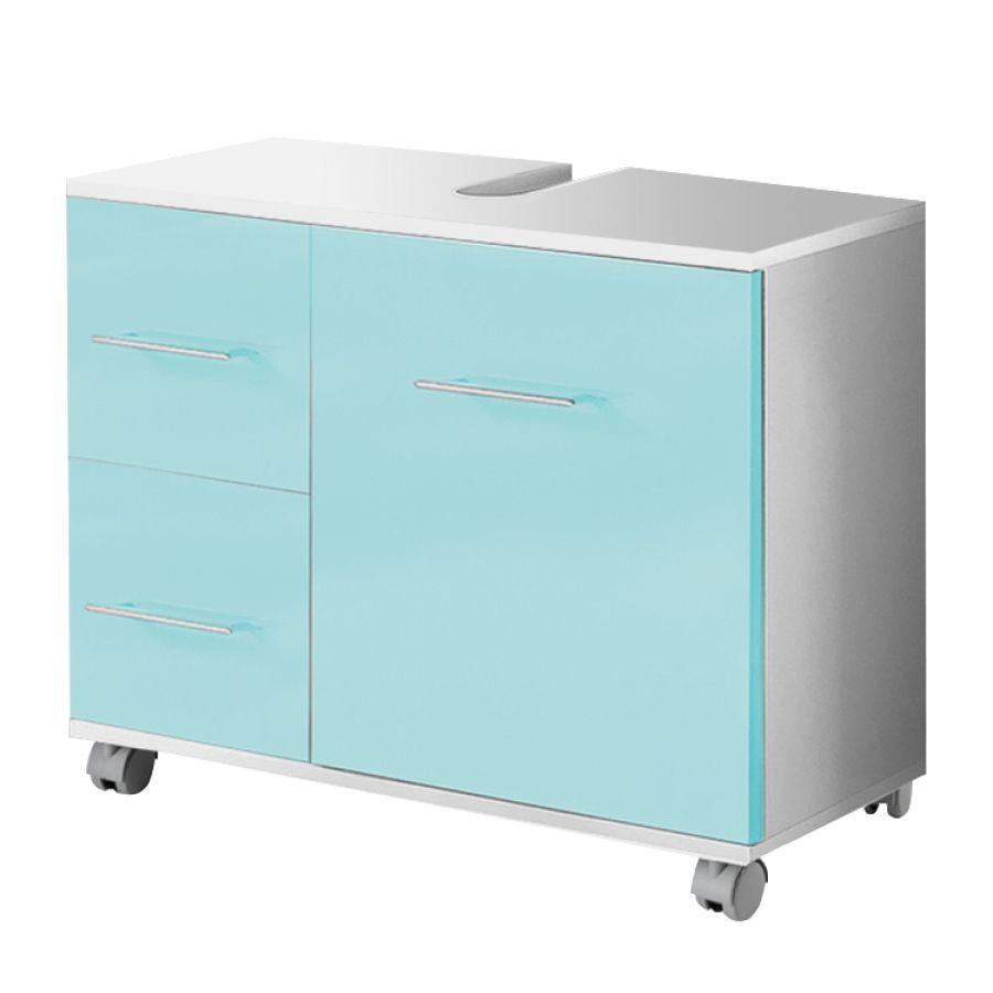 Waschbeckenunterschrank Amy - Aqua/Weiß