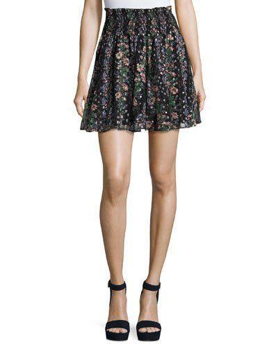 addf66bf9ba Floral Stripe Smocked-Waist Skirt