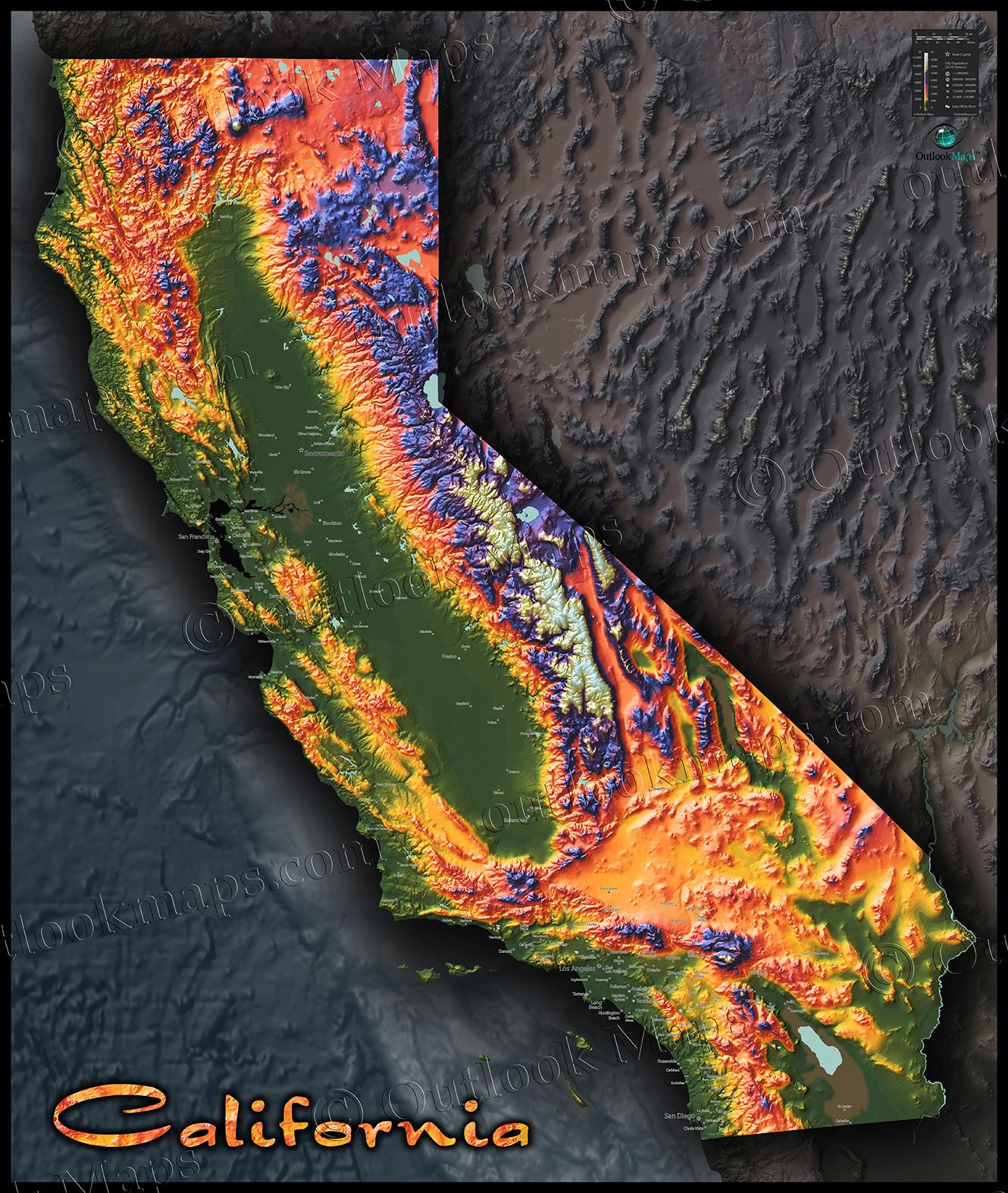 California Topographic Map | Map Designs by Outlook Maps | Pinterest ...