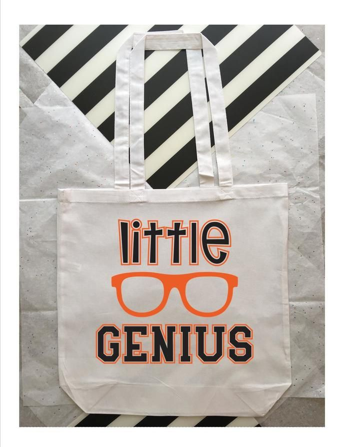 Little Genius Personalized Childs Tote Bag Custom Kids Book Bags Name Totes