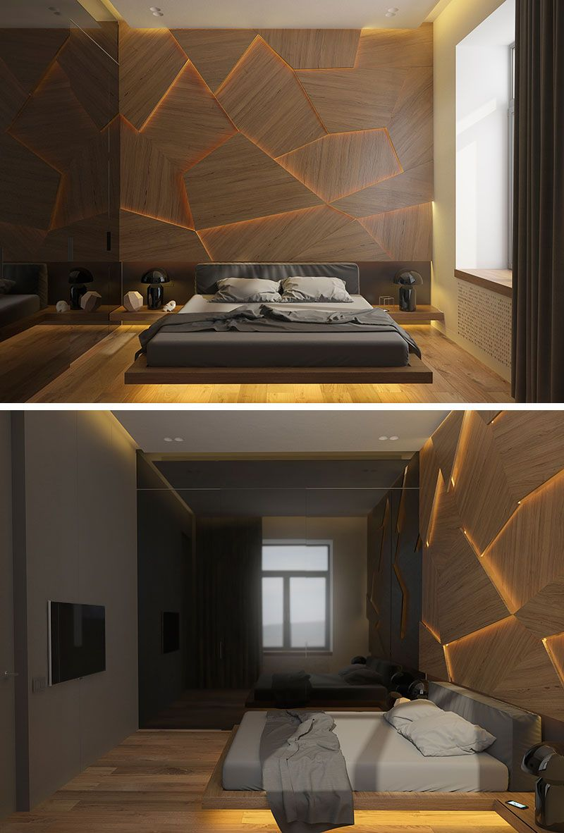 This bedroom has a geometric back lit wood accent wall - Wall designs with wood ...