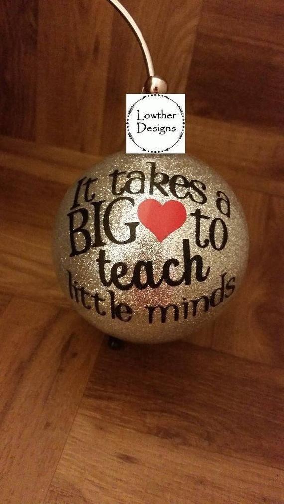 it take a big heart to teach little minds,teacher ornament,ornament for teacher,teacher gift,special teacher gift,Christmas gift for teacher
