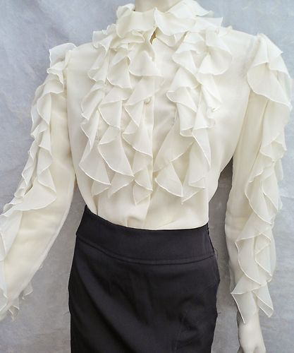 JERRI SHERMAN leaf print ivory ruffled collar blouse with bow vintage 80s silk blouse