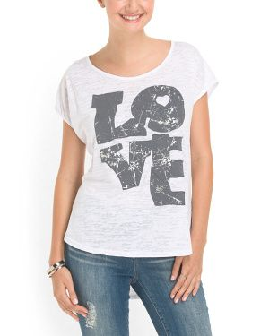 Cotton Blend Love Burnout Tee