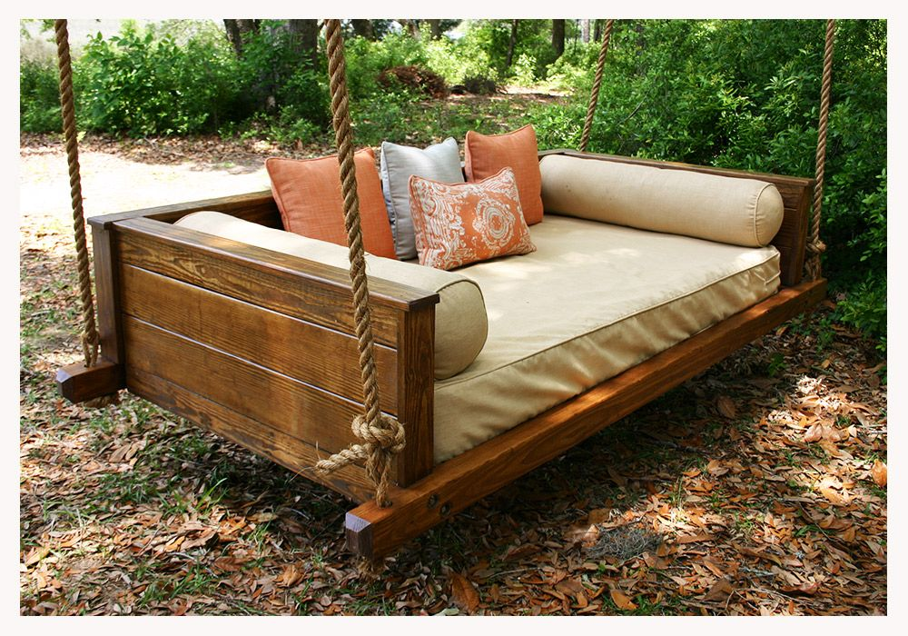 Vintage porch swings make from the kiddo 39 s old twin bed for Outdoor swing bed