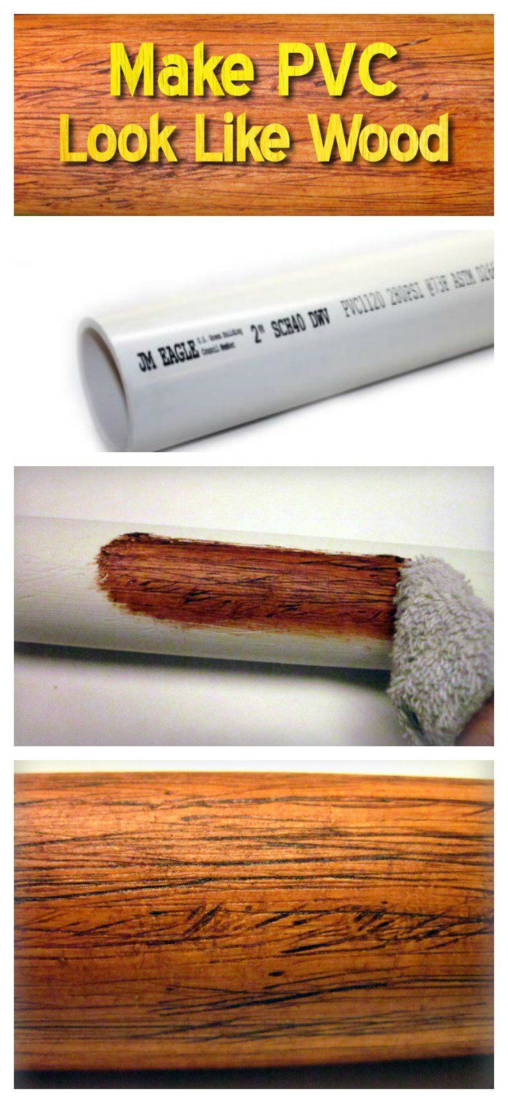 A Genius Idea to Make PVC Look Like Wood & A Genius Idea to Make PVC Look Like Wood | Woods Pvc pipe and Pvc ...