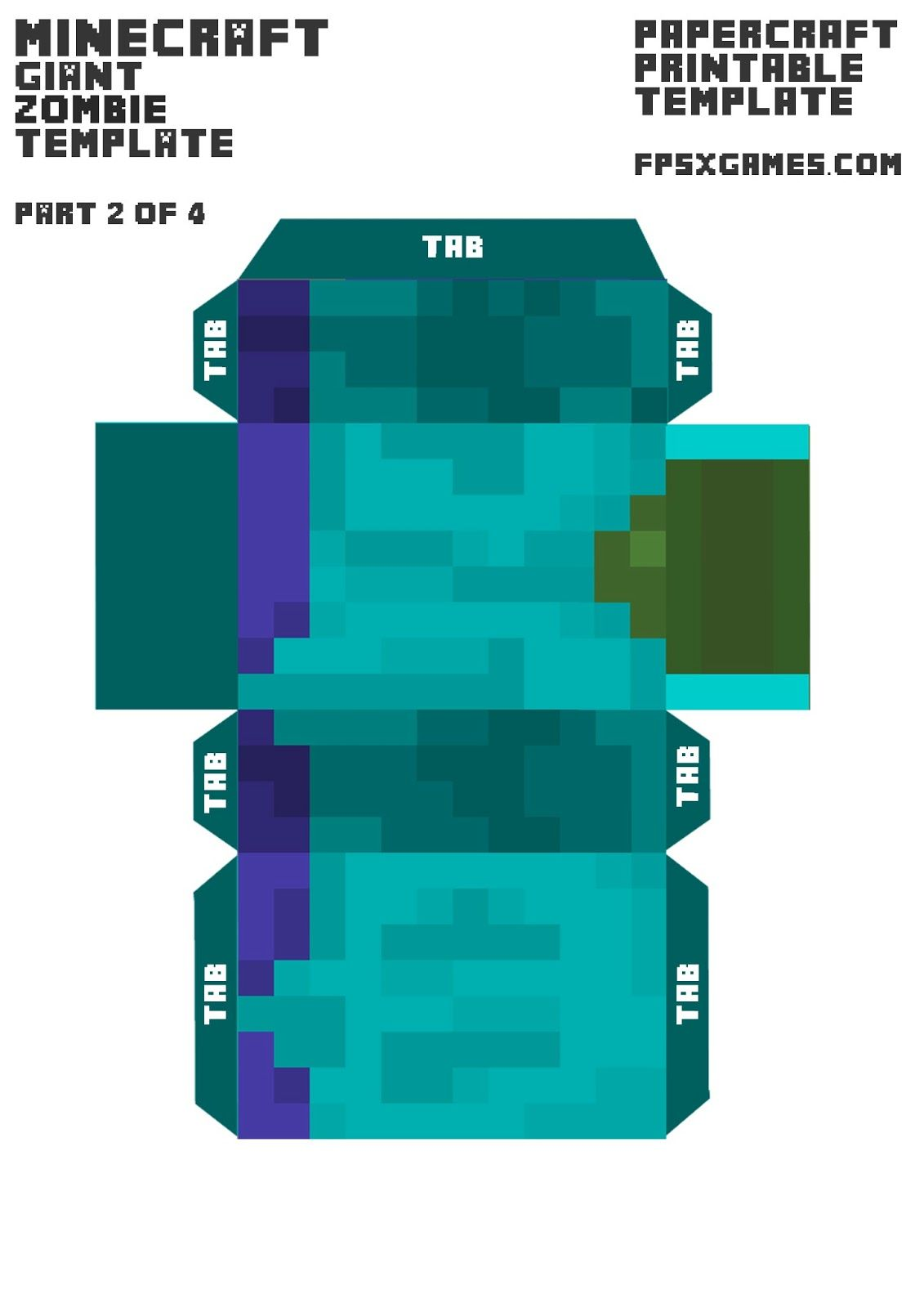 minecraft papercraft printable mob cut out character zombie part 2
