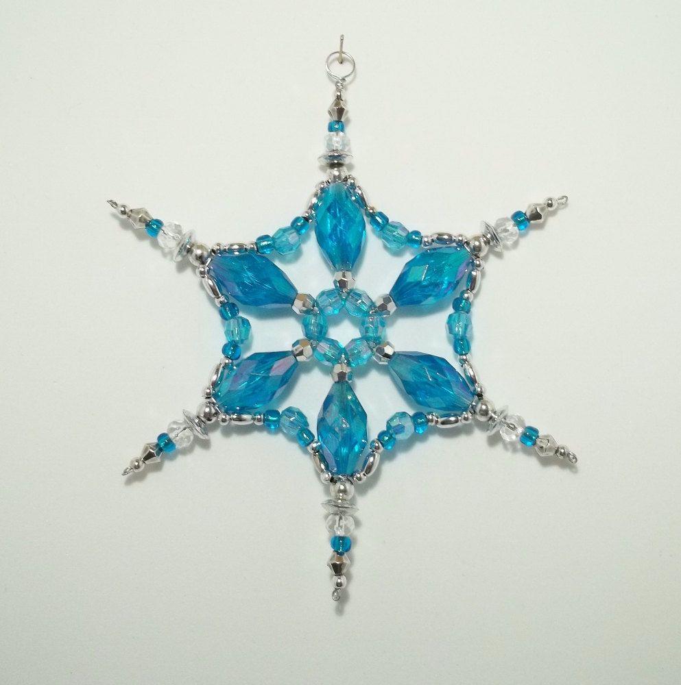 Snowflake Ornament - Suncatcher - Decoration - Aquamarine and Silver ...