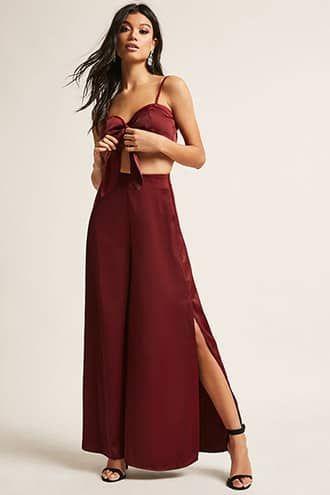 e0fd4968cb Satin Crop Top & Vented Pants Set | Two Piece Outfits | Satin crop ...