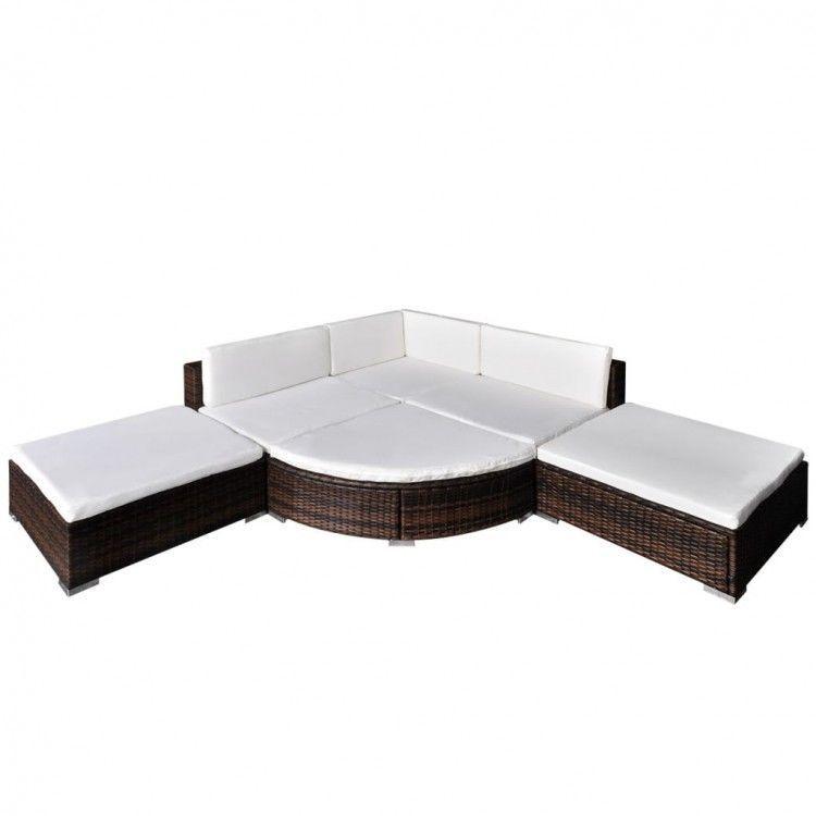 Rattan Sofa Set Outdoor Garden Corner Sofa Patio Lounge Furniture Set Brown  New